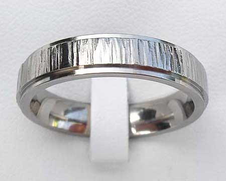 Hammered Texture Titanium Wedding Ring