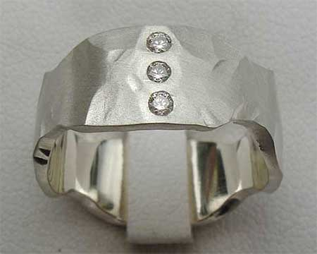 Hammered Three Diamond Wedding Ring