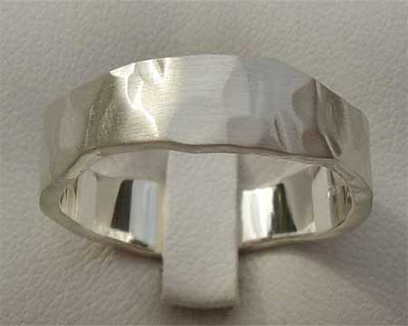 Hand Hammered Silver Wedding Ring