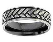 Herringbone Mens Wedding Ring
