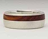 Inlaid Domed Wooden Wedding Ring