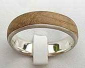 Domed Inlaid Wooden Wedding Ring