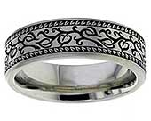 Leaves Pattern Titanium Wedding Ring
