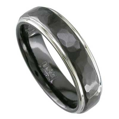 Mens Black Hammered Wedding Ring