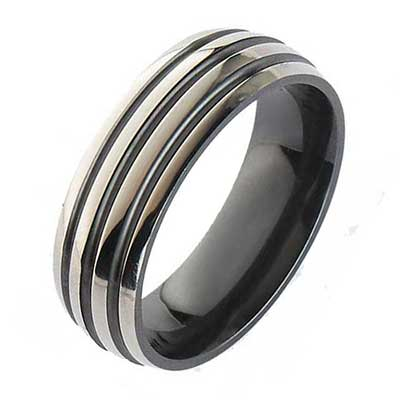 Mens Grooved Domed Wedding Ring
