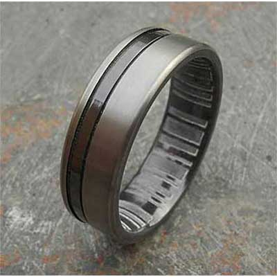 Mens Grooved Two Tone Wedding Ring