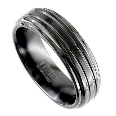 Mens Shoulder Cut Black Wedding Ring