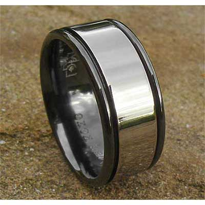 Mens Two Tone Appearance Wedding Ring