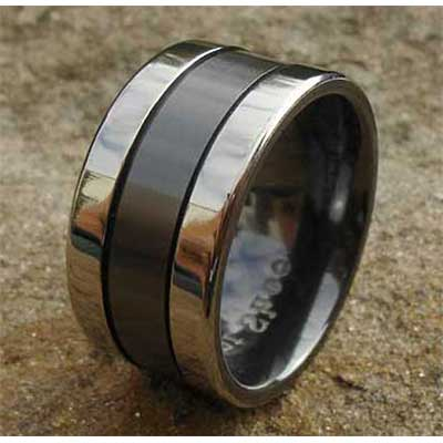Mens Two Tone Flat Wedding Ring