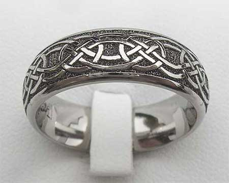 Modern Domed Celtic Wedding Ring