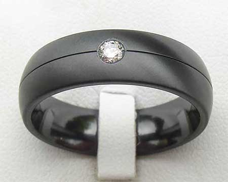 Modern Diamond Black Wedding Ring