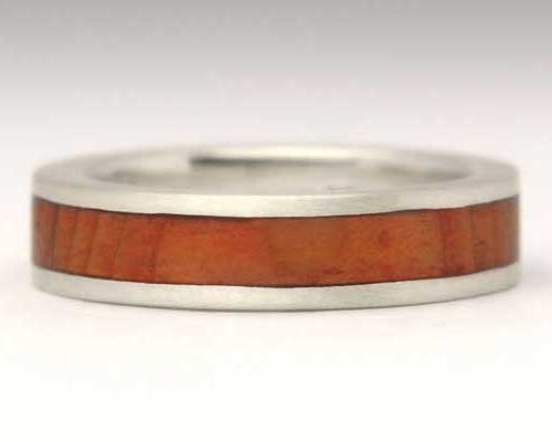 Narrow Flat Wooden Wedding Ring