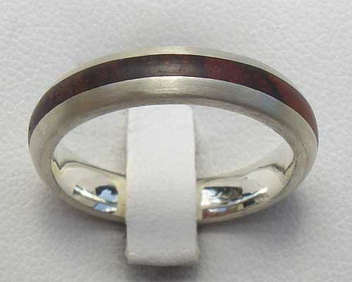 Narrow Inlaid Wooden Wedding Ring