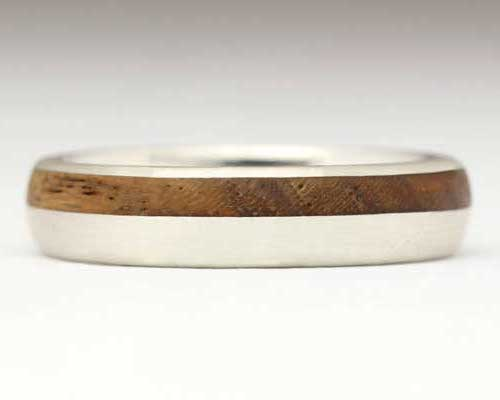Narrow Offset Inlaid Wooden Wedding Ring