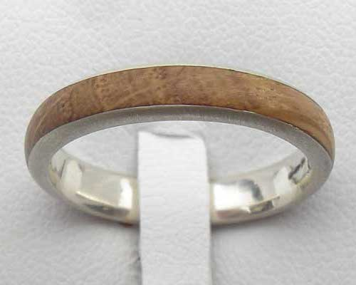 Narrow Domed Wooden Wedding Ring