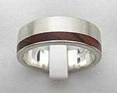 Offset Inlaid Wooden Wedding Ring