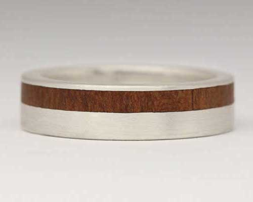 Offset Inlay Wooden Wedding Ring