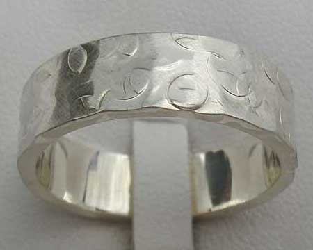 Pitted Texture Silver Wedding Ring
