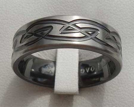 Relieved Black Celtic Wedding Ring