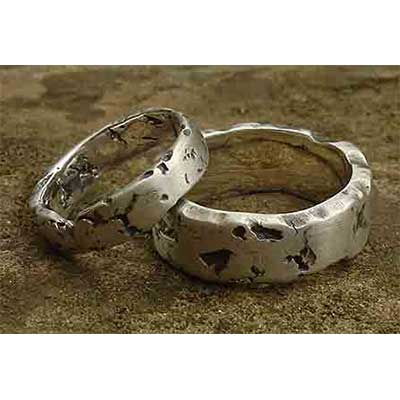 Rock Texture Silver Wedding Rings