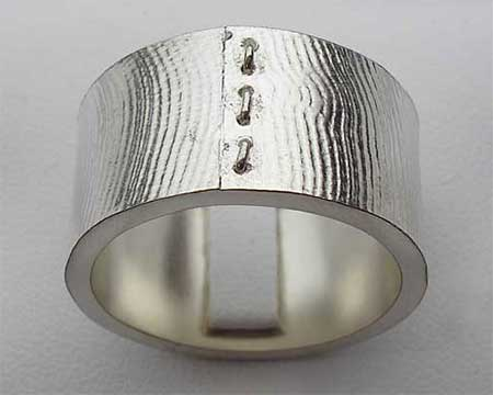 Rockers Silver Mens Wedding Ring