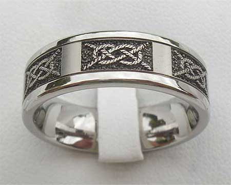 Rope Engraved Titanium Wedding Ring