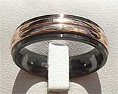 Rose Gold Inlaid Mens Wedding Ring