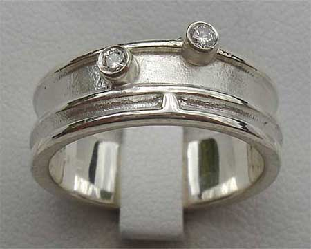 Rustic Silver Womens Diamond Wedding Ring