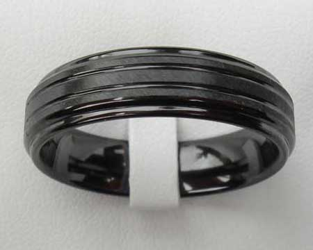 Shoulder Cut Black Mens Wedding Ring