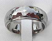 Shoulder Cut Hammered Titanium Wedding Ring