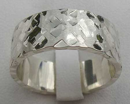 Squared Hammered Silver Wedding Ring