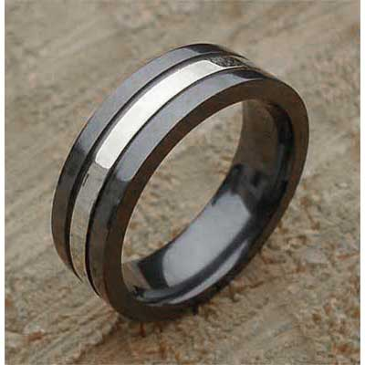 Sterling Silver Inlay Mens Wedding Ring