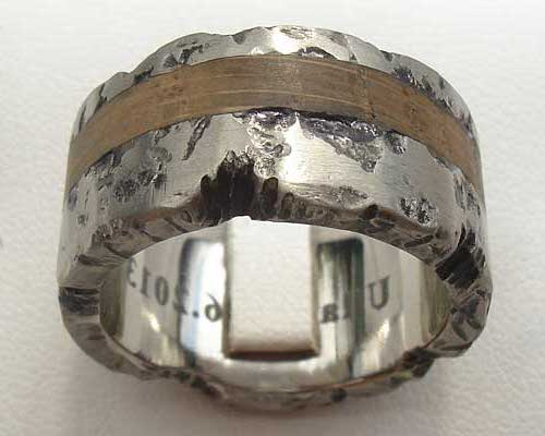 Textured Titanium & Wood Wedding Ring