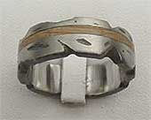 Textured Titanium & Wooden Wedding Ring