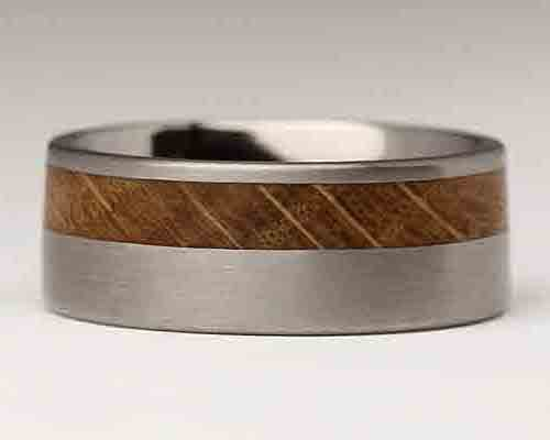 Titanium & Offset Wooden Wedding Ring