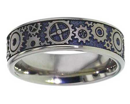 Gears Titanium Wedding Ring