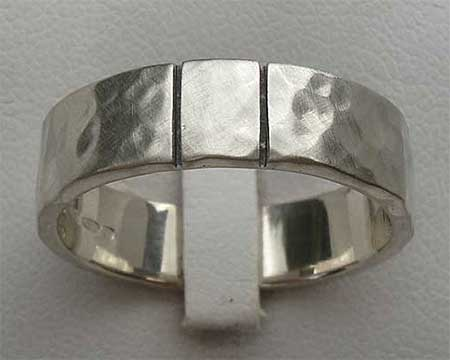 Twin Etched Lines Silver Wedding Ring