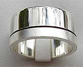 Twin Finish Silver Mens Wedding Ring