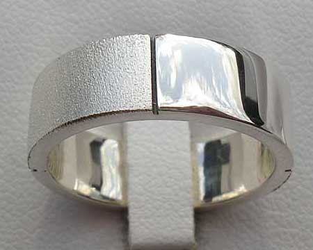 Twin Finish Sterling Silver Wedding Ring