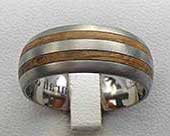 Twin Inlay Titanium & Wooden Wedding Ring
