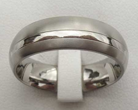 Two Tone Domed Titanium Wedding Ring