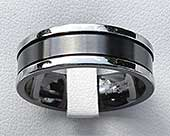 Two Tone Flat Mens Wedding Ring