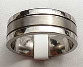 Two Tone Grooved Titanium Wedding Ring