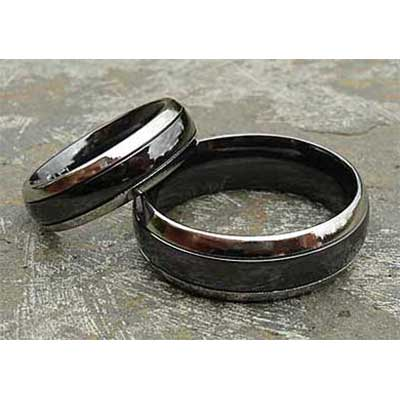 Two Tone Mens Domed Wedding Rings