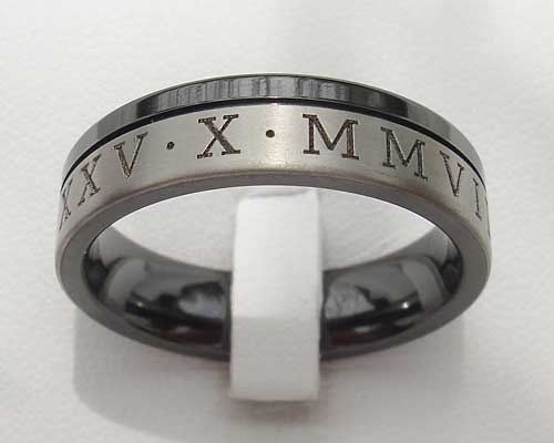 Two Tone Roman Numeral Wedding Ring