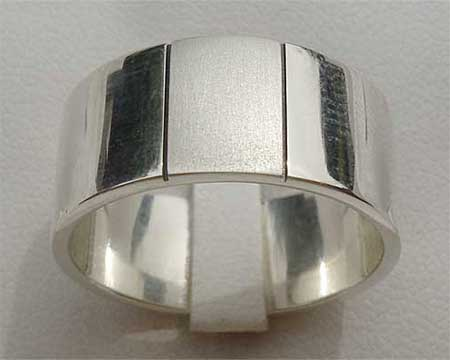 Two Tone Mens Silver Wedding Ring