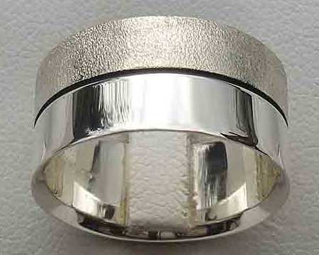 Two Tone Silver Wedding Ring