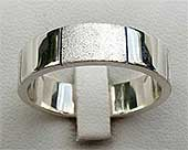 Two Tone Sterling Silver Wedding Ring