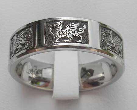 Welsh Dragon Celtic Wedding Ring