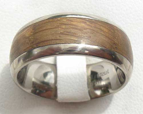 Wide Domed Wooden Wedding Ring